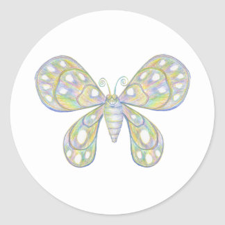 Happy Butterfly Classic Round Sticker