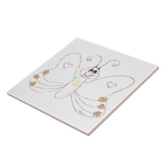 Happy Butterfly drawing Tile