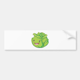 Happy Cabbage Vegetable Smiling Bumper Sticker