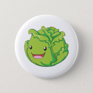 Happy Cabbage Vegetable Smiling Button