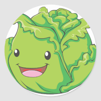 Happy Cabbage Vegetable Smiling Classic Round Sticker