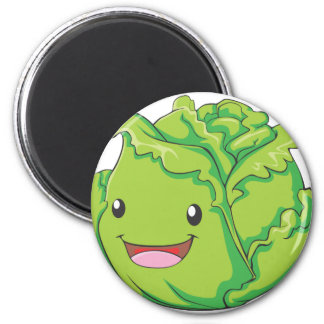 Happy Cabbage Vegetable Smiling 2 Inch Round Magnet