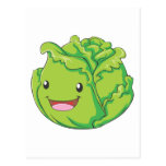 Happy Cabbage Vegetable Smiling Post Card