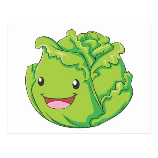 Happy Cabbage Vegetable Smiling Post Cards