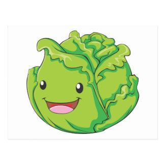 Happy Cabbage Vegetable Smiling Postcard