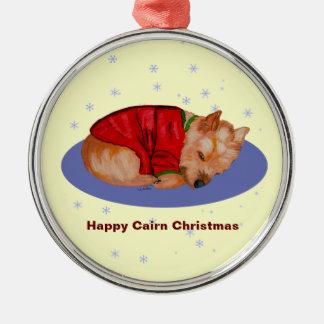 Happy Cairn Christmas Metal Ornament