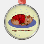 Happy Cairn Christmas Round Metal Christmas Ornament