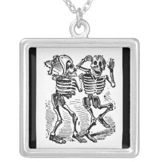"""Happy Calaveras"" Mexico's Day of the Dead Square Pendant Necklace"
