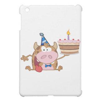 Happy Calf Cartoon Character Holds Birthday Cake Case For The iPad Mini