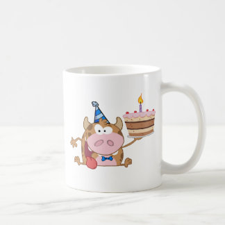 Happy Calf Cartoon Character Holds Birthday Cake Coffee Mug