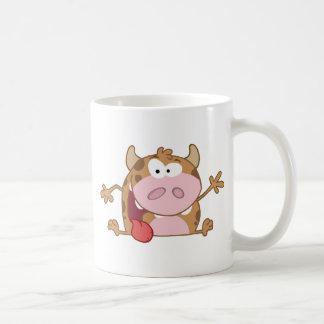 Happy Calf Cartoon Character Waving A Greeting Coffee Mug