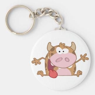 Happy Calf Cartoon Character Waving A Greeting Keychain