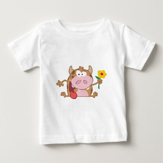Happy Calf Cartoon Character With Flower Baby T-Shirt