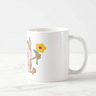 Happy Calf Cartoon Character With Flower Coffee Mug