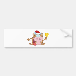 Happy Calf Character Ringing A Bell Christmas Bumper Sticker