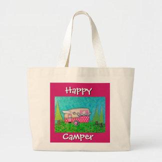 Happy Camper Bag, Pink Camper, Camper Tote