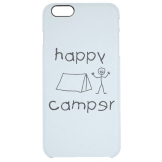 Happy Camper (blk) Clear iPhone 6 Plus Case