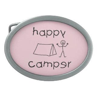 Happy Camper (blk) Oval Belt Buckle