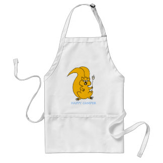 Happy Camper Cartoon Squirrel Roasting Marshmallow Adult Apron