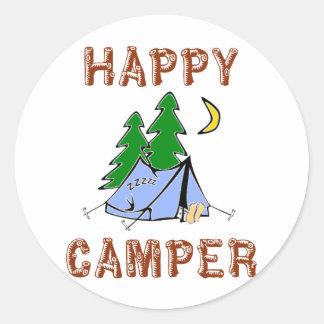 HAPPY CAMPER CLASSIC ROUND STICKER