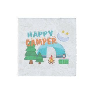 Happy Camper Cookout Stone Magnet