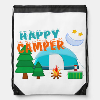 Happy Camper Cookout Drawstring Bags
