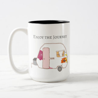 Happy Camper - Enjoy the Journey Two-Tone Coffee Mug