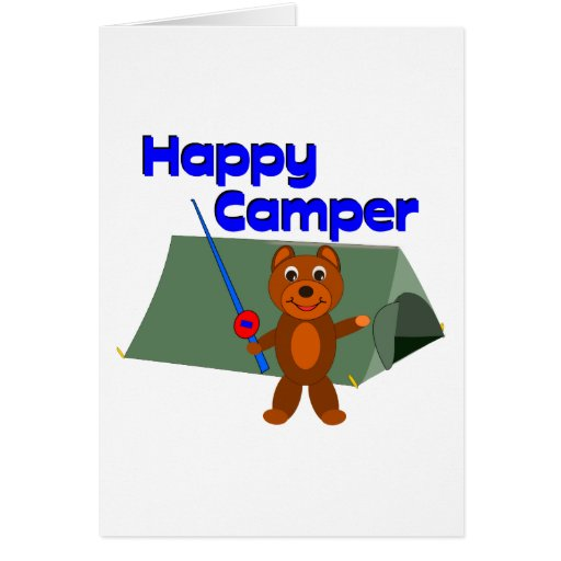 Happy Camper Fishing Pole Greeting Card