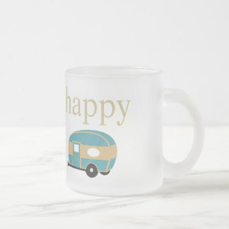 Happy Camper Frosted Glass Coffee Mug