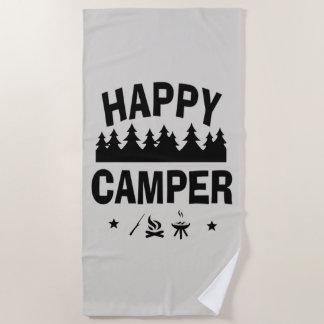 Happy Camper Fun Camping Quote Beach Towel