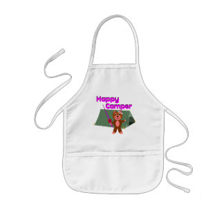 Happy Camper - Girl with Fishing Pole Kids' Apron
