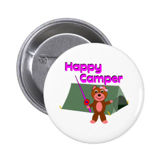 Happy Camper - Girl with Fishing Pole Pinback Buttons