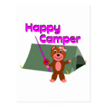 Happy Camper - Girl with Fishing Pole Postcards