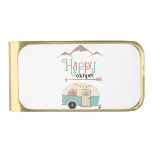 HAPPY CAMPER GOLD FINISH MONEY CLIP