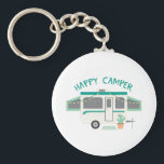 "Happy Camper Keychain<br><div class=""desc"">This camping trailer design is perfect to add to towels for the camper.</div>"