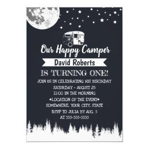 Happy Camper Moon Stars Forest Birthday Invitation