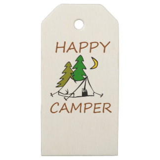 Happy Camper Outdoors Wooden Gift Tags