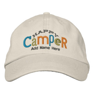 Happy Camper Personalize Embroidery Hat Embroidered Baseball Cap