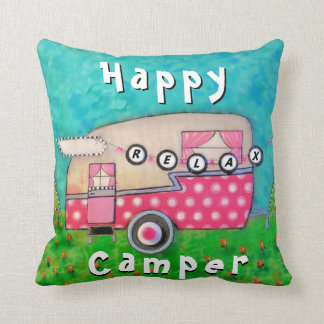 Happy Camper Pillow, Camper Art Throw Pillow