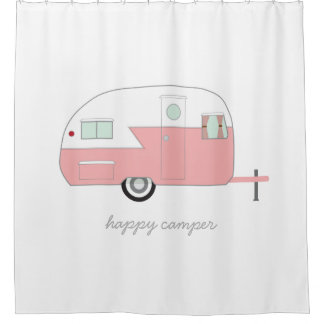 Awesome Happy Camper Pink Shower Curtain