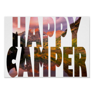 Happy Camper Poster (Camping, Hiking, Outdoors)