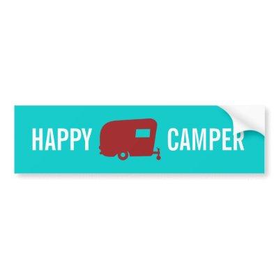 Funny Travel Sticker on Happy Camper Rv Travel Trailer Humor Bumper ...