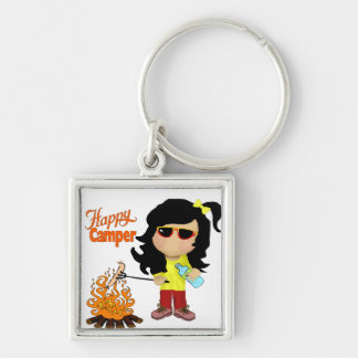 Happy Camper Square Keychain