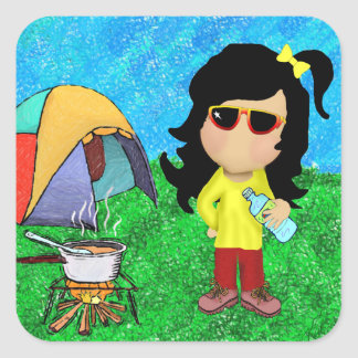 Happy Camper Square Stickers