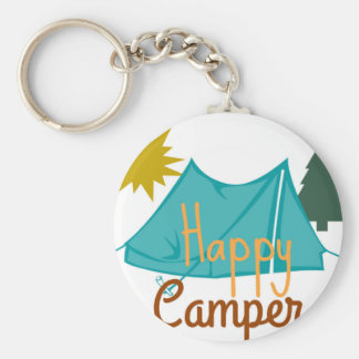 Happy Camper Tent Outdoors Keychain
