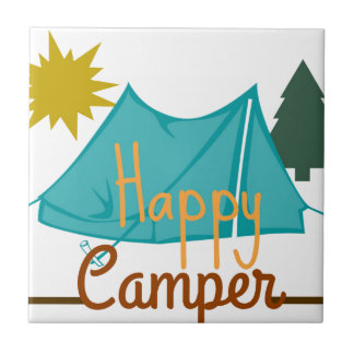Happy Camper Tent Outdoors Tile