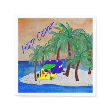 Beach Themed Happy camper trailer beach cocktail napkins. napkin