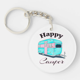 Happy Camper Trailer Camping Keychain
