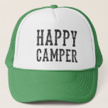 "Happy Camper trucker hat<br><div class=""desc"">Happy Camper in vintage-inspired typeface,  trucker hat</div>"