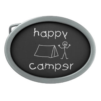 Happy Camper (wht) Belt Buckle
